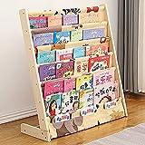 Gweat Bücherregal für Kinder, aus Holz, mehrschichtig, mit Stoffablagen, einfacher Zugriff, Kinder-Bücherregal für Kleinkinder, Schlafzimmer, Spielzimmer, Kinderzimmer (Größe: L, Farbe: Cartoon-Tiere)
