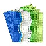 Feleph Classic Platte Gerade Blaue Bauplatte x 4, Meeresthema Bauplatten für Jede Sammlung, Groß Grundplatte 32 x 32 mit Strand, Kompatibel mit Allen Marken