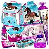Pferd Pony Einhorn Horse 10 Teile Schulranzen RANZEN Tornister Ranzen Tasche Schultüte 85 cm FEDERMAPPE Set