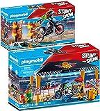PLAYMOBIL® Stuntshow 2er Set 70552 70553 Werkstattzelt + Motorrad mit Feuerwand