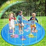 Nabance Splash Pad 170cm Wasserspielzeug Garten Sprinkler Play Matte Wasserspielzeug Pool Pad Spritzen Wasserspielmatte Spielmatte für Outdoor Familie Party Kinder Hund Strand Sommer Garten