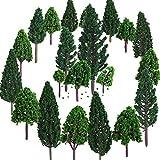 22 Stücke Modell Bäume 3 - 16 cm Mixed Modell Baum Zug Bäume Eisenbahn Landschaft Diorama Baum Architektur Bäume für DIY Landschaft, Natürliche Grün