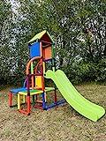 move and stic Toni Spielturm / Spielhaus Kletterturm mit Rutsche für Kleinkinder für Kinderzimmer oder Spielzimmer genauso geeignet wie im Garten