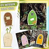6 PCS Wichteltür Miniatur Wichtel Set Tür Dekor Verzierungen DIY Miniatur GNOME Home Fenster und Tür für Bäume Yard Garden Patio Decor (Khaki)