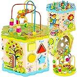 Green series Kinderplay Motorikwürfel, Motorikspielzeug Holzspielzeug Baby - Spielwürfel Lernspielzeug Holz, Würfel Vielfältige Spielerlebnisse, GS1105