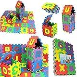 JUSHINI 36 Stück Puzzlematte für Babys Kinder Spielmatte Nummer Alphabet Puzzle Schaum Lernmatte Kinderspielmatte Schaumstoffmatte Mathematik Lernspielzeug Geschenk, 5x5cm