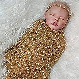 chisatowww Reborn Baby Dolls - Realistische weiche Silikon-Vinyl lebensechte Babypuppe, handgefertigte Puppe mit echter Kleidung Babypuppen für Anfänger Mütter Geschenke 50CM