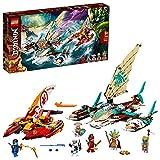 LEGO 71748 NINJAGO Duell der Katamarane Bauset mit 4 Spielzeugbooten und Kai, Jay und Zane Minifiguren