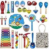 Anpro 27 Stück Musikinstrumente Set, Musical Instruments Spielzeug Schlagzeug, Kinder Schlaginstrument für Kinder im Vorschulalter mit Aufbewahrungstasche