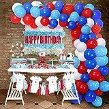 Rot Weiß Blau Ballon Girlande Kit 100 Stück Geburtstagsfeier Dekorationen Ballonbogen Kit für Geburtstag Graduierungen Superheld Spiderman Captain American Themed Party Decor