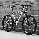 Outdoor-Sport Mountainbike 30 Geschwindigkeit 26 Zoll mit Kohlenstoffstahlrahmen Doppelte Ölbremse Federgabel Federung Antislip Bikes,Blau