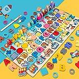 Holz Montessori Zahlen & Alphabet Puzzle-Set | Pädagogisches Stapelbrett für Kinder mit Angelspiel Mathe Nummer Farbe Form Sortierung für Kinder Vorschul-Lernaktivitäten Geschenk für Jungen Mädchen