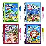 Wassermalbücher, 4-teiliges magisches Malbücher-Set, Reiseaktivitäten, Spielzeug für Kinder, Durchschlagbuch für Kinder, wiederverwendbares Zeichenbuch und Stifte-Set für Kinder, Kleinkinder,Geschenk