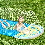 CLISPEED Rasen-Wasserrutschen für Kinder, 15,7 Fuß einfach einzurichten und aufblasbarer Pool Wasserrutschen und Rutsche Outdoor-Sommer-Wasserspielzeug für Hinterhof-Rasen-Garten
