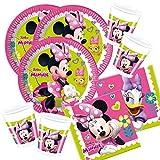 52-teiliges Party-Set Minnie Mouse - Minnie Happy Helpers - Teller Becher Servietten für 16 Kinder