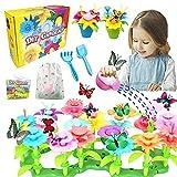 VLUINANI Blumengarten Kit für Mädchen - Geschenk Spielzeug für 3 4 5 6 Jährige Kinder Mädchen 150 Stück DIY Bouquet Sets mit Aufbewahrungstasche, Kunst Blumenarrangement Draußen und Drinnen Kreativ(A)
