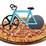 ZAWTR Fahrrad Pizzaschneider, Edelstahl Pizza Schneider Lustige Pizzaroller aus Antihaftbeschichtetem, Doppel Pizza Cutter mit Scharfem Schneiderad & Ständer für Weihnachten Party Geschenke (Blau)