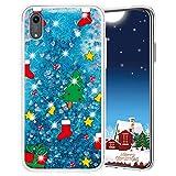 Misstars Weihnachten Handyhülle für Huawei Honor 8S / Y5 2019, 3D Kreativ Glitzer Flüssig Transparent Weich Silikon TPU Bumper mit Weihnachtsbaum Muster Design Anti-kratzt Schutzhülle