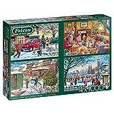 Jumbo 11269 Family Time at Christmas 4X 1000 Teile Puzzlespiel, Mehrfarben