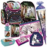 Pferd Pony Einhorn Horse 9 Teile Schulranzen RANZEN Schulrucksack Tornister Ranzen Tasche Schultüte 85 cm FEDERMAPPE Set inkl. Sticker von Kids4shop