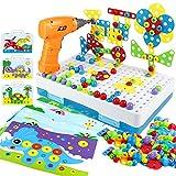 Kinderspielzeug Mosaik Steckspiel Montessori Spielzeug ab 2 3 4 Jahre Bohrmaschine Werkzeugkasten Kinder Pegboard Puzzle mit Kinder Elektrische Bohrmaschine Geschenke für kinder 2 3 4 5 Jahre