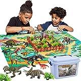 Buyger 58 Stück Dinosaurier Spielzeug Set mit Spielmatte Bäume, Dinosaurier Figuren Einschließlich T-Rex, Triceratops, Brachiosaurus, Geschenke für Kinder Jungen Mädchen ab 3 Jahre