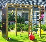 Spiel&Garten XXL Klettergerüst 2,4m Kletterturm mit Kletternetz Reckstange Kletterwand Leiter