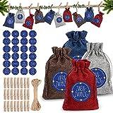 24 Adventskalender Zum Befüllen,Weihnachten Geschenktüten 10x15cm,Jutesäckchen Adventskalender mit Aufkleber,DIY Adventskalender 2021 für Männer Kinder