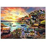 Puzzle 1000 Teile,Puzzle für Erwachsene, Impossible Puzzle,Puzzle farbenfrohes Legespiel,Geschicklichkeitsspiel für die ganze Familie,Erwachsenenpuzzle ,Mädchen am Meer
