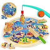 VATOS 3-in-1 Magnetisches Angelspiel Holzspielzeug Spielzeug ab 2 3 4 5 Jahren Angelspiel für Kinder 26PCS Alphabet Angeln Spielzeug Perfektes Lernspielzeug für 2 3 4 Jahre alte Kinder Mädchen Jungen