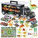 Vanplay Autotransporter Dinosaurier LKW Spielzeug einschließen Kleine Dinosaurier Figuren Dino Ei Mini Rennauto mit Spielmatte, Verkehrszeichen für Kinder 37PCS