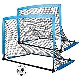 2er Set Kinder Fußballtore Fußballtor faltbar & tragbar mit Tasche zum Transportieren 8 x Bodenanker für Garten Indoor Fussball Tor Football Tore