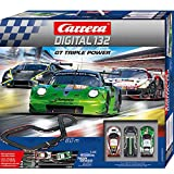 Carrera DIGITAL 132 GT Triple Power – Elektrische Autorennbahn │ Premium-Rennbahn für bis zu 6 Spieler mit 3 GT3-Fahrzeugen │ Ferngesteuerte Carrerabahn für Kinder ab 8 Jahren & Erwachsene [Exklusiv bei Amazon]