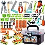 BUYGER 82 Stück Werkzeugset Spielzeug Werkzeugkoffer Werkzeugkasten Werkzeug Set Kinder Werkbank Kinderwerkzeug Handwerker Rollenspiele für Kinder Jungen ab 3 Jahre