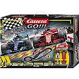 Carrera 20062482 GO!!! Speed Grip Rennstrecken-Set | 5,3m Rennbahn mit Vettels Ferrari SF71H&Hamiltons Mercedes-AMG F1 W09 EQ Power+ | mit 2 Handreglern&Streckenteilen | Kinder ab 6 Jahren&Erwachsene