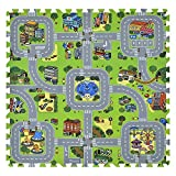 Juskys Kinder Puzzlematte Jascha 9 Teile – Stadt & Straßen - rutschfest & abwischbar - 1 cm dick – Spielmatte ab 10 Monate – Baby Puzzle Spielteppich