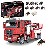 Mould King 17027 Technik LKW Feuerwehrauto Modell, 4420 Teile Technik Feuerwehr LKW mit Kran, 7 Motoren Bauset Kompatibel mit Lego Technik