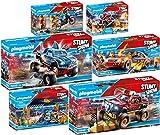 PLAYMOBIL® Stuntshow 6er Set 70549 70550 70551 70552 70553 70554 Monster Truck Horned & Shark + Crashcar + Werkstattzelt + Motorrad + Feuerwehrkart