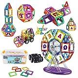 Veluoess 112 Stück Magnetische Bausteine Set Konstruktionsbausteine DIY 3D Pädagogische Spielzeug Regenbogenfarben Bausatz Kinderspielzeug Geschenk Geeignet für Jungen Mädchen