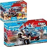 PLAYMOBIL® Stuntshow 2er Set 70550 70554 Monster Truck Shark + Feuerwehrkart