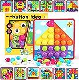 HUYIYI Mosaik Steckspiel für Kinder ab 2 Jahre,Lernspielzeug Geschenk für Mädchen Junge,Steckmosaik mit 45 Steckperlen und 12 Bunten Steckplätte,Bunte Steckspiel Pädagogische Baustein Sets, Spielzeug