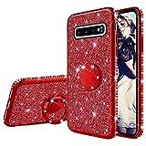 Misstars Glitzer Hülle für Galaxy S10 Plus Rot, Bling Strass Diamant Weiche TPU Silikon Handyhülle Anti-Rutsch Kratzfest Schutzhülle mit 360 Grad Ring Ständer für Samsung Galaxy S10 Plus