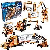 CaDA 10in1 Hafen-Set (Truck, Hänger, Gabelstapler, Lader, Kräne, Container UVM!), 634 Teile (kompatibel z.B. mit Lego Technic z.B. 42062 42078 8285 42062 42079 8416 42061) C71002W