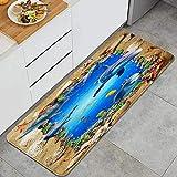 VAMIX Küchenteppich,3D Sand Muschel Jakobsmuschel Meeresboden Dolphin Beach Fish Blue Water,dekorative Küchenbodenmatte mit Rutschfester Rückseite,47'x17'