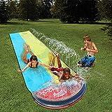 Wasserrutsche Garten XXL, Doppelte 4.8m Wasserbahn Kinder Rutsche Garten Bauch Draußen Pool Rutsche Groß Wasserspiele Spielzeug