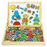 yoptote Pädagogisches Holzspielzeug, Lernspiele 90 Stück, Magnetisch, Magnetbuchstaben Kinderpuzzle, Magnettafel Kinder, Tolles Geschenk für Junge Mädchen ab 3 4 5 Jahre