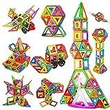 Crenova 98PCS Magnetische Bausteine Regenbogenfarben Bausatz Pädagogischen Magnetischen Fliesen Spielzeug für Kinder