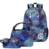 Schulrucksack-Set für Studenten, Freizeit, Reisen, Schule, Büchertasche, Teenager, Mädchen, Jungen, Schultasche - Blau - Large