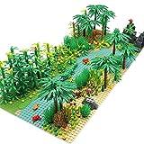 Feleph Dschungel Landschaft Bausteine mit 2 Bauplatten, Regenwald Pflanzen Bäume Blumen Ziegel Zubehör Botanische Wald Kompatibel mit den wichtigsten Marken