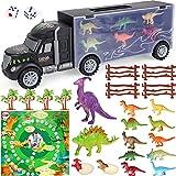 Vamei 28PCs Dinosaurier Transporter Dinosaurier Spielzeug Transporter Mini Dinosaurier Figuren Eier Spielmatte Bäume Zäune Spielzeugautos Dinosaurier Spiel Dinosaurier Geschenke für Jungen Mädchen